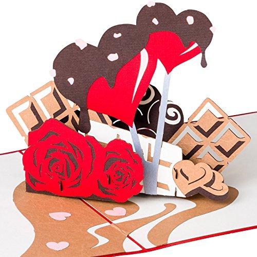 Hochzeitskarte Herzen mit Schokolade & Rosen, 3D-Pop-Up-Karte Valentinstag, Valentinstag-Karte, Glückwunschkarte zur Verlobung, Liebe, Valentinskarte, Geburtstagskarte, Geschenkkarte mit Umschlag Lv Rosen
