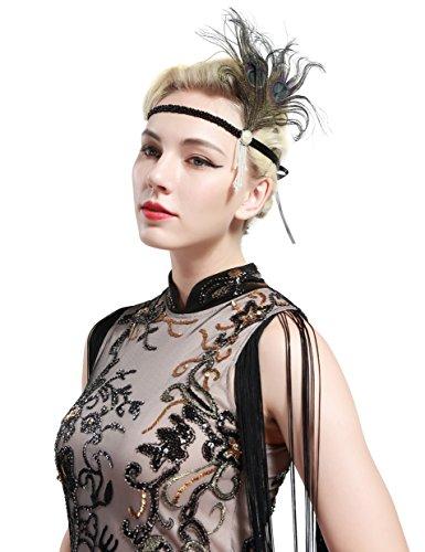 BABEYOND 1920s Stirnband Feder Flapper Stirnband mit Perlen Troddel 20er Jahre Haarband Große Gatsby Kostüm Accessoires Damen Retro Stirnband - 5