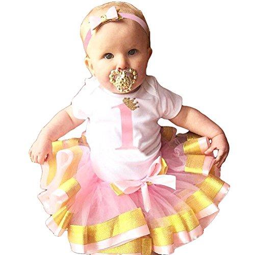 Gagacity Baby Mädchen 1.Geburtstag Kleidung mit Stirnband und Strampler 3pcs Set Gold Pink/1Y