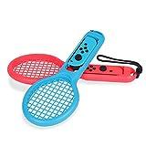Fdit Tennisschläger für Nintendo Schalter für Joy Con Mario Tennis Aces Spiel Mario Abenteuermodus (2 Packungen)(Rot Blau)