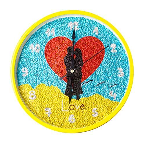 Cutebility Liebe DIY Clock Diamond Painting Kits, Wanddekoration mit bunten Diamanten, Kids Arts and Crafts Kit enthält Uhrwerk, Geschenke für Mädchen, Jungen und Erwachsene