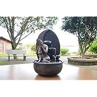 Zen'Light - Fuente de Buda Grace, Resina, Bronce, 26 x 26 x 40 cm