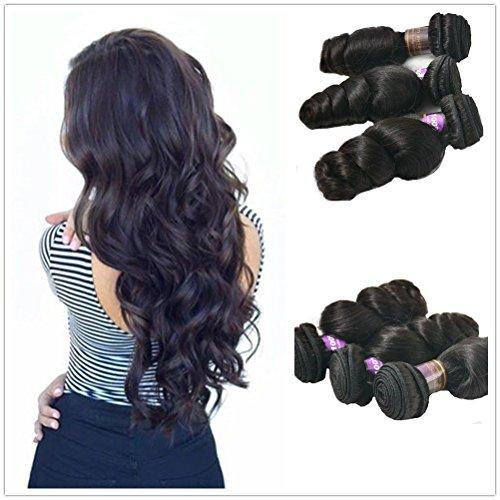 Moresoo Completer Tete Weave 300gram- Bresilien Cheveux Ondules Loose Wave Naturel Vierge Tissage - 24 Pouces/60cm Naturel Noir