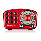Radio Portatile Vintage, Altoparlante Bluetooth Retro, Radio FM in rossa con Mini Radio stile Classico...