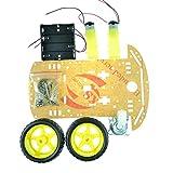 Dreaflower Beweglicher intelligenter Roboter-Auto-Fahrgestell-Kit-Drehzahlgeber-Batterie-Kasten 2WD für Arduino