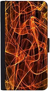 Snoogg Grungy Flames Background Graphic Snap On Hard Back Leather + Pc Flip C...