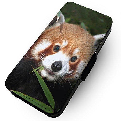 WTF | rot Panda Face | Kunstleder Flip-Telefon Fall |, Kunstleder, HTC One M8 (Htc M8 Flip-telefon Fall)