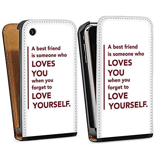 Apple iPhone 5s Housse Étui Protection Coque Meilleur ami Best Friend Ami Sac Downflip noir