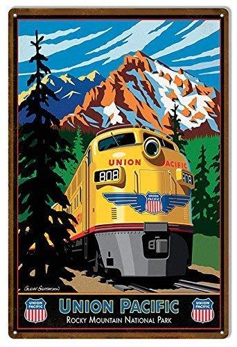 Union Pacific Blechschild, Union Pacific Reproduktion Eisenbahn Metallschilder Vintage Retro Metall Blechschild 20,3 x 30,5 cm für Zuhause. -