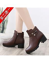 c87ea4e5cd77f AGECC Botas de Invierno Medias y Cortas de Invierno para Damas para Mujer  35 Zapatos Marrones