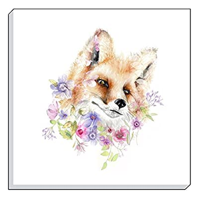 "Evans Lichfield Country Floral Fox Red Lilac Purple Canvas Wall Art Picture 40cm - 16"" - low-cost UK light shop."