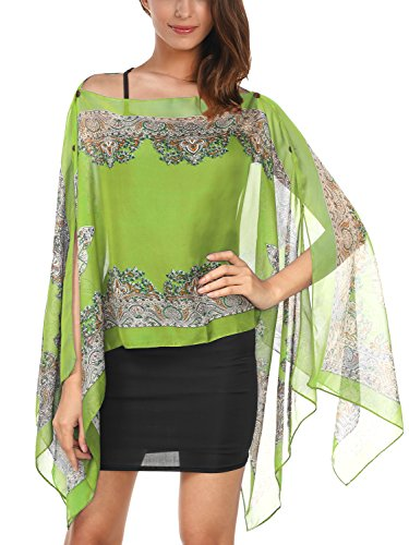 DJT T-Shirt Imprime Floral Tops A la mode Foulard Cover up Vert
