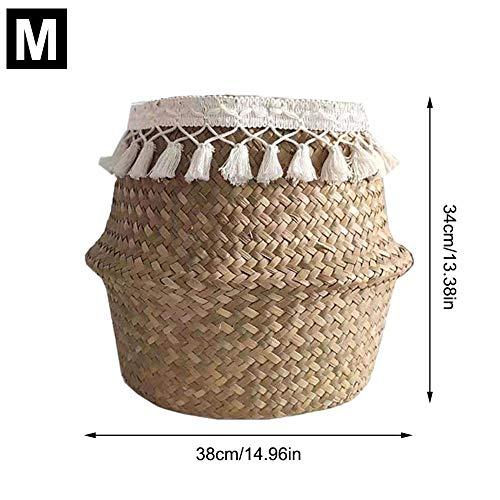 Natürliche Seegras Bauch Korb Hand gewebt Korb mit Griff faltbar Pflanze Blumentöpfe Spielzeug Wäsche Lagerung Veranstalter Picknick Strandtasche -