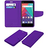 ACM Leather Flip Wallet Case for Micromax Bharat Go Mobile Cover Purple