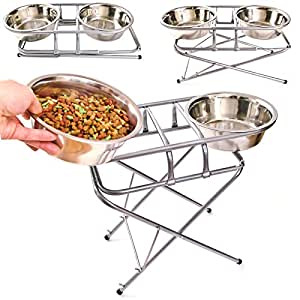 Adjustable Dog Pet Feeder With 2 Bowls