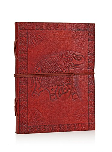 Hand Embossed Brown Leather Personal Journal Notebook Diary (17 X 13) Cms With