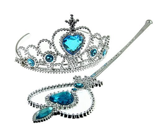 te Kostüm Set - Verkleidung - Karneval - Halloween - ELSA Princess - Blaue Farbe - Krone - Zauberstab - Magic Scepter - Girl - Frozen ()