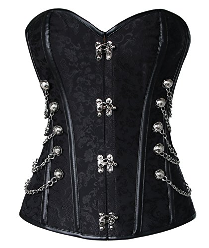 Charmian Women's Steampunk Gothic Spiral Steel Boned Brocade Waist Cincher Overbust Corset with Chains Black XXX-Large (Black Fish Womens)