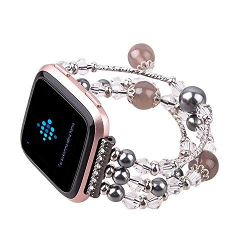IGEMY 2018 Perlen Dekor Mode Sport Armband Armband für Fitbit Versa Kleine Größe (Schwarz) (Michael Kors Swarovski Uhr)