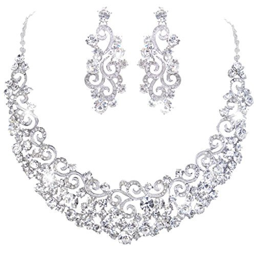 Ever Faith Nuziale Ripple collana orecchini set silver-tone austriaca cristallo N02407-2