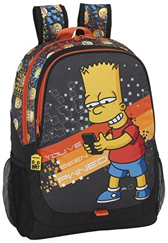safta-077682-the-simpsons-mochila-escolar-44-cm-gris-negro