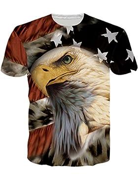 BFUSTYLE Herren T-Shirt Kurzarmshirt Top Unisex Casual 3D Muster Kurzen Ärmels Gedruckt Top Tees