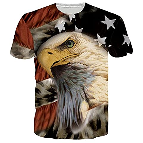 BFUSTYLE American Flag Eagle-Druck-Sommer-Grafik Bequemes T Shirts Tees XXL