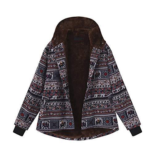 en für Damen Steppjacke Bedruckte Womens Winter Warm Outwear Knopf Vintage Ethnic Print Fleece MäNtel Gedruckt Langarm Jacke Retro Ethno Wintermantel Oberbekleidung ()