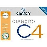 Canson 530976 - Album a 4 Angoli, Disegno C4, Ruvido, 20 Fogli, 224 G/Mq, 24x33 cm