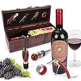 yobansa Wein Flasche Paket Box, Wein-Holzkiste mit Geschnitzt Holz Schach Antique Wood