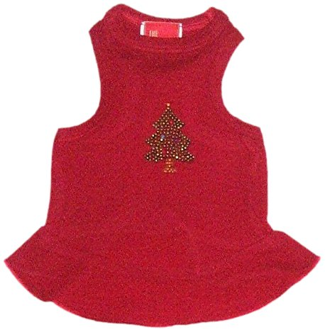 Grüner Urlaub Weihnachten Hund T-shirt (Der Hund Squad grün Baum Kleid Weihnachten T-Shirt für Haustiere, Medium, Grün Baum auf Rot)