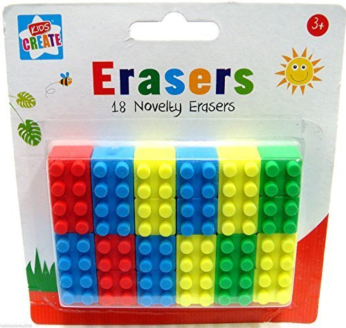 novelty-erasers-lego-rubbers-18-school-rubbers-kids-erasers-brick-block-type-new
