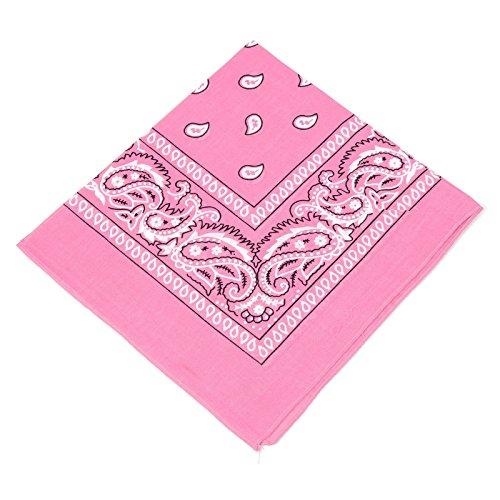 Boolavard Bandana Kopftuch Halstuch - gemustert: Paisley Muster - 100% Baumwolle! (Baby Pink)