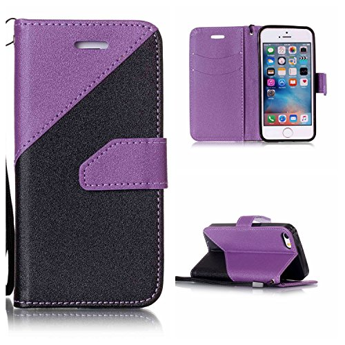 Voguecase Pour Apple iPhone 5 5G 5S SE Coque, Étui en cuir synthétique chic avec fonction support pratique pour iPhone 5S (couleurs mélangées IV-Rouge)de Gratuit stylet l'écran aléatoire universelle couleurs mélangées IV-Violet