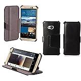 Ultra Slim Tasche Leder Style HTC ONE M9 (LTE / 4G) Hülle Schwarz Cover mit Stand - Zubehör Etui HTC ONE M9 Dual SIM Flip Case Schutzhülle (PU Leder, Schwarz) - Vorbestellen XEPTIO accessoires 2015