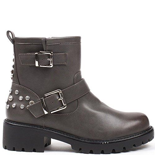 Ceinturon Bottines avec Style Ideal Motard Strass Shoes Prue Gris et 6BwIxX