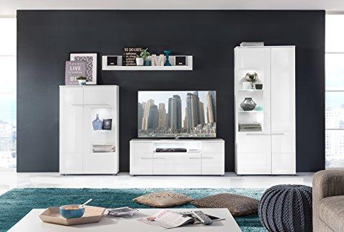 trendteam VIS03801 Vitrine Wohnzimmerschrank Weiß Hochglanz, BxHxT 80 x 135 x 35 cm - 4