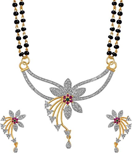 Cardinal American Diamond Latest Design Mangalsutra Pendant Necklace set Latest Design with Earring For Women