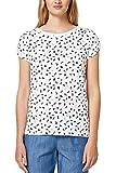 edc by ESPRIT Damen T-Shirt 078CC1K020, Weiß (Off White 2 111), Small