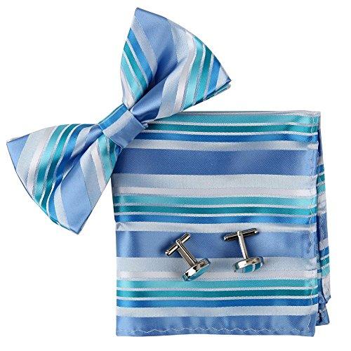 BT2076 Blue Stripes Seide Pre-tied Bowtie Manschettenkn?pfe Hanky ??Perfect Formal Wear Arbeiten Designer Geschenk f¨¹r M?nner von Epoint