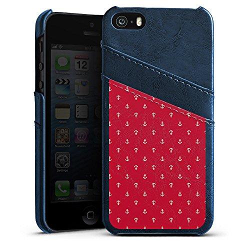 Apple iPhone 5s Housse Étui Protection Coque Ancre Mode été Rouge Étui en cuir bleu marine
