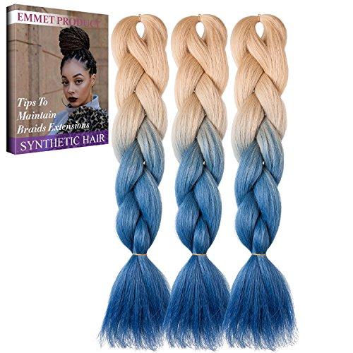 Jumbo Braids-Premium Qualität 100% Kanekalon Braiding Haarverlängerung Full Bundles 100g / pc Synthetik Haar Ombre 24Inch 3Pcs / lot Hitzebeständig, lange Zeit mit-37 Farben 2Tone & 3Tone, Garantie 1 Woche ändern oder Rückerstattung(Farbe 73)