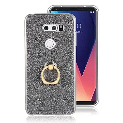 EKINHUI Case Cover Soft Flexible TPU Back Cover Case Shockproof Schutzhülle mit Bling Glitter Sparkles und Kickstand für LG V30 ( Color : Black ) Black