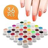 Nail Art UV Gel Set, Luckyfine 36 Farben Farbgel Gele Glitter Puder Nagel Design Nagel Kunst spitzt