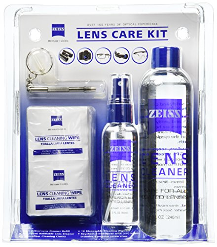 Zeiss Lens Care Kit - 8oz Lens Cleaner Refill, 2oz Refillable Lens Cleaner Spray, 2 Microfiber Cloth, 10 Individually Wrapped Cleaning Wipes, Keychain Screwdriver, 4 Screws by Zeiss (Lens Cleaner Kit)