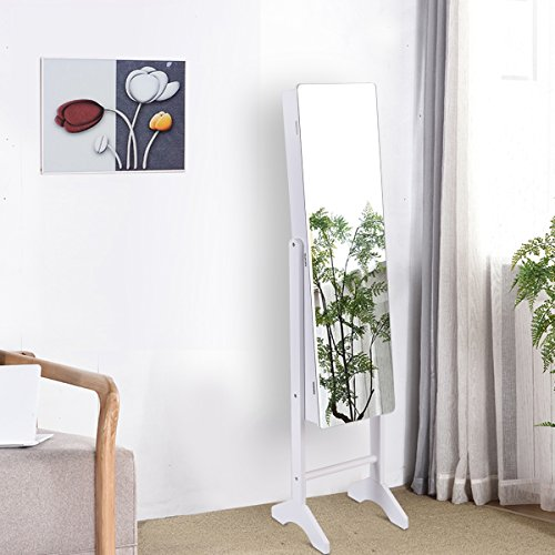 COSTWAY Schmuckschrank Schmuckregal Spiegelschrank Standspiegel mit Spiegel Schmuckkasten weiß
