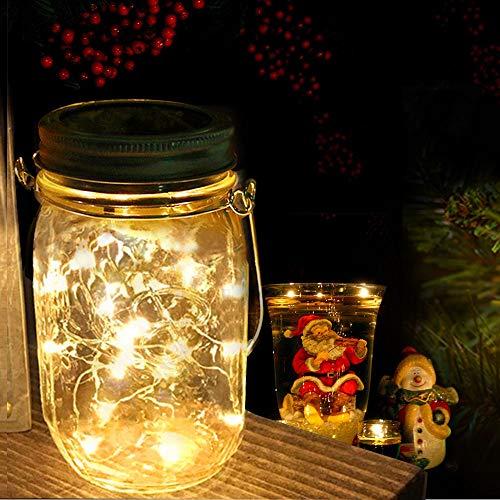 Nasharia Lanterna solare in barattolo di vetro Jar LED catena di luci solari per esterni LED Solar Mason luce da giardino luce solare per feste, balconi, vacanze di Natale, matrimonio (gel caldo)