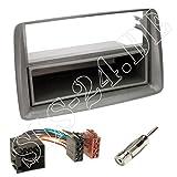 Einbauset : Autoradio Doppel-DIN 2-DIN Radioblende Radio Blende Halterung mit Ablagefach grau + ISO Radioanschlusskabel / Radio Adapter + Antennenadapter für Fiat Panda (169) 10/2003 - 2012
