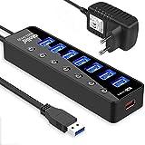 Atolla Hub USB 3.0 7 Ports Multi port USB alimenté avec interrupteur indépendant et 5V/3A 15W Adaptateur alimentation -Noir