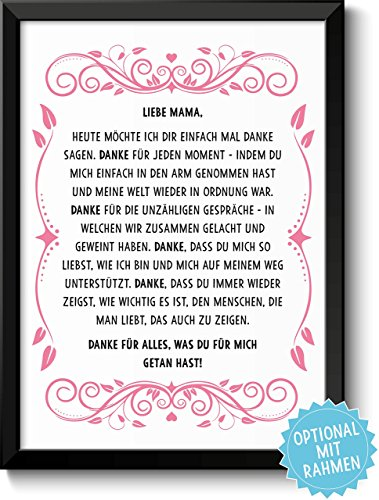 DANKE FÜR ALLES - Bild Danksagung für Deine Mama Mutter – Rahmen optional – Geschenk Geschenkidee Geburtstag Hochzeitstag Muttertag